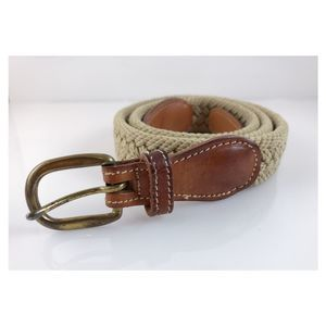 Vintage Leather and Brass Braided Belt